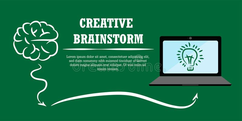 Creative brainstorm concept business idea with computer royalty free illustration