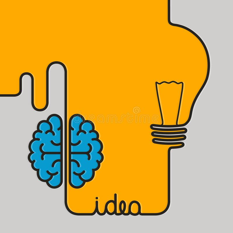 Creative brainstorm concept business idea. Wire forming a brain and lightbulb. stock illustration