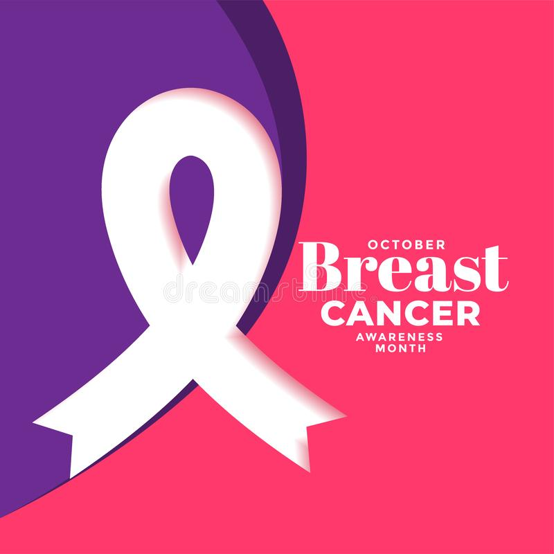 Creative breast cancer month poster design with ribbon. Vector vector illustration