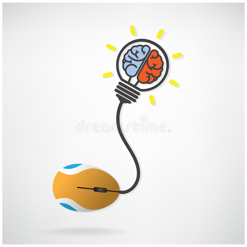 Creative brian icon in light bulb symbol with computer mouse si. Gn on background, design for poster flyer cover brochure , business idea , abstract background royalty free illustration