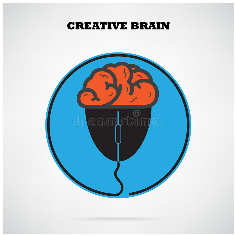 Creative brian symbol with computer mouse sign,business idea ,education idea. Creative brian symbol with computer mouse sign on background,design for poster vector illustration