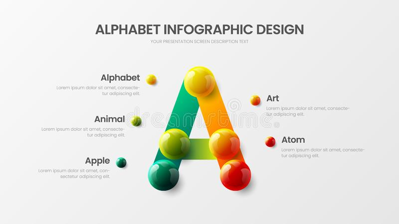 Creative bright multicolor character design illustration layout. Modern art A symbol graphics visualization template. Amazing vector alphabet infographic 3D stock illustration