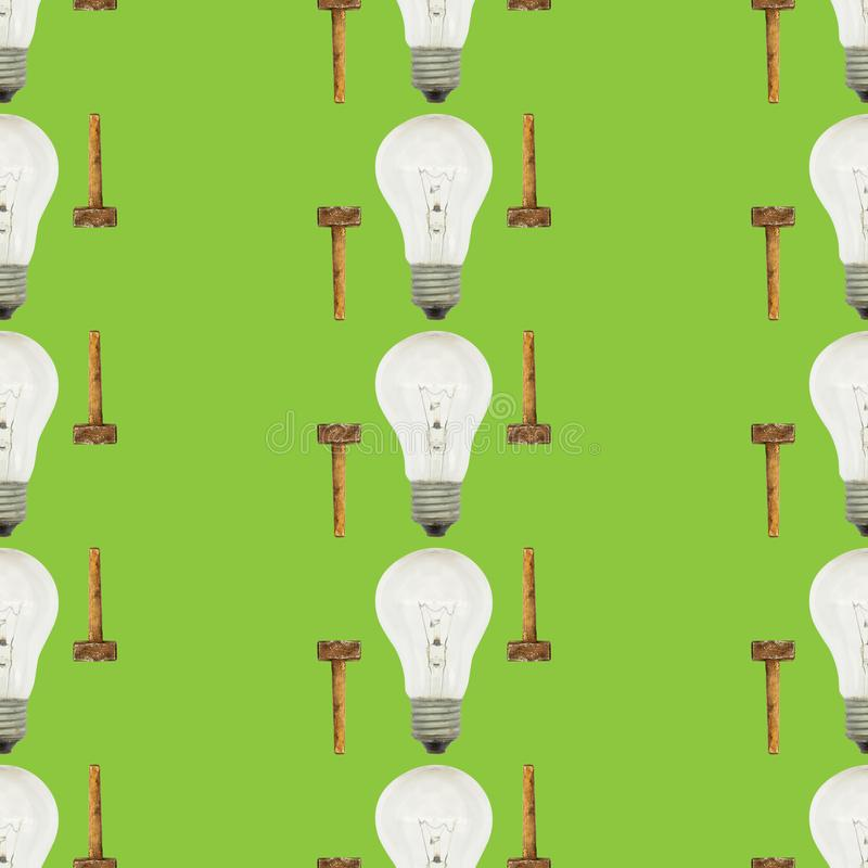 Creative bright seamless pattern of glass bulbs and hammer on a green background vector illustration