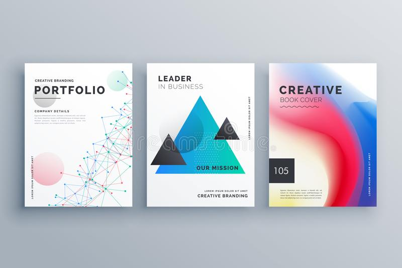 Creative brochure design teample set in A4 size made with wire m. Esh, triangle and fluid colors style royalty free illustration
