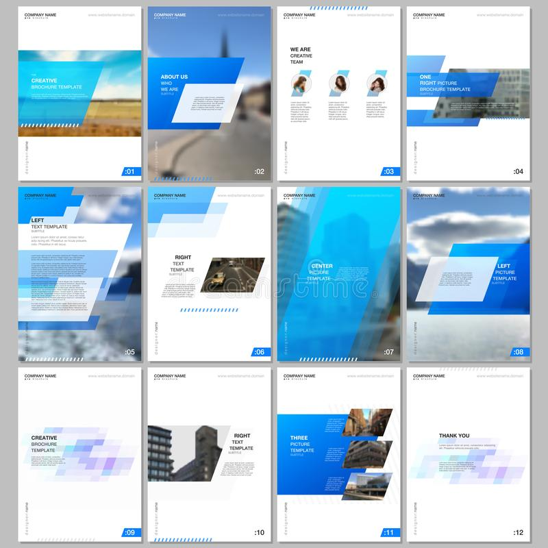 Creative brochure templates with colorful gradient geometric background. Blue colored design. Covers design templates. For flyer, leaflet, brochure, report royalty free illustration