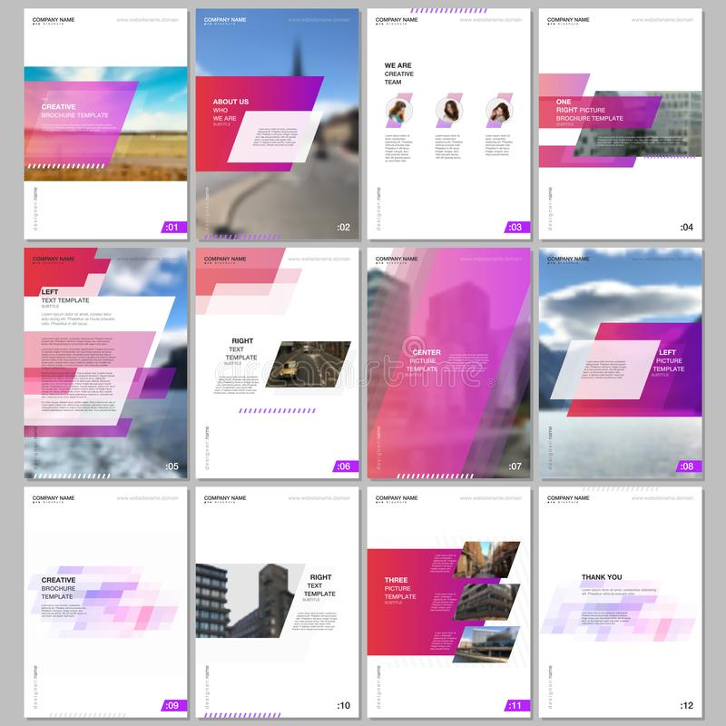 Creative brochure templates with colorful gradient geometric background. Red colored design. Covers design templates for. Flyer, leaflet, brochure, report stock illustration
