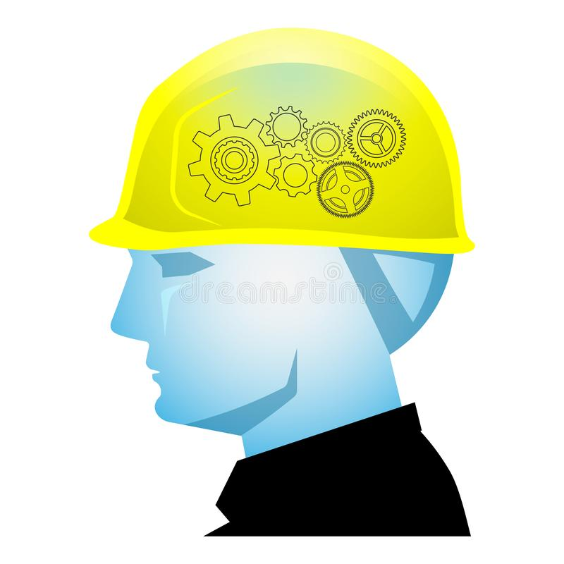 Creative builder, Foreman head with safety helmet and gear wheels. Foreman head with safety helmet and gear wheels, creative builder concept royalty free illustration