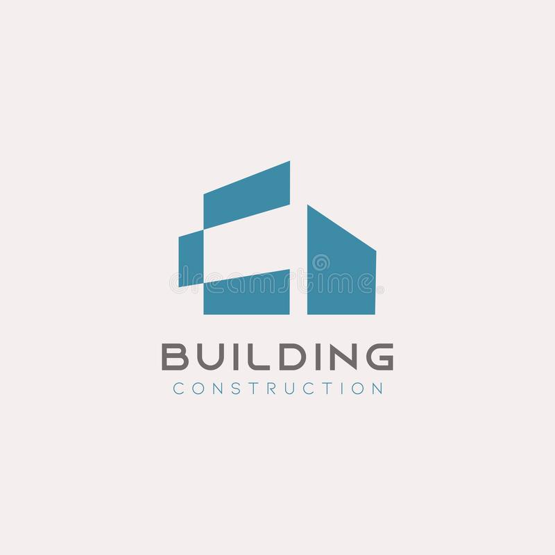 Creative building logo icon design blue on white colors background. Minimalism style of architecture and housing symbols. Estate, real, minimalist, business royalty free illustration