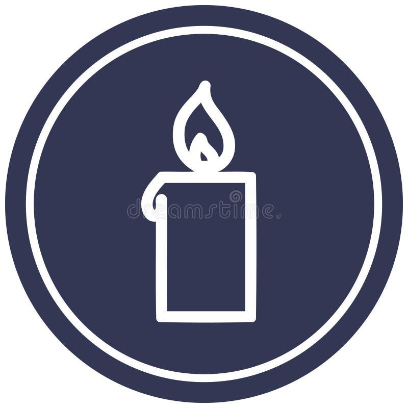 A creative burning candle circular icon royalty free illustration