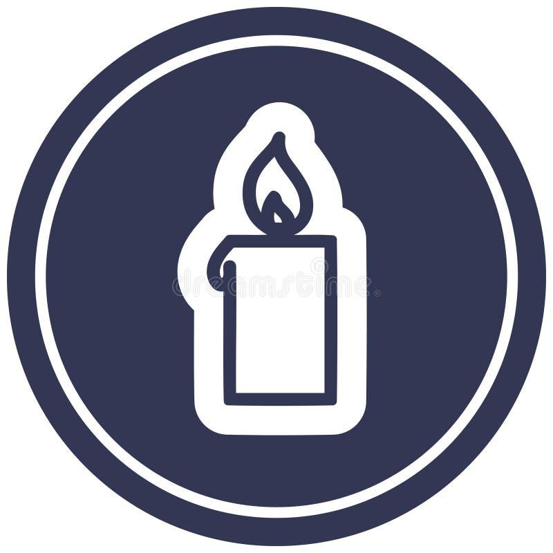 A creative burning candle circular icon vector illustration
