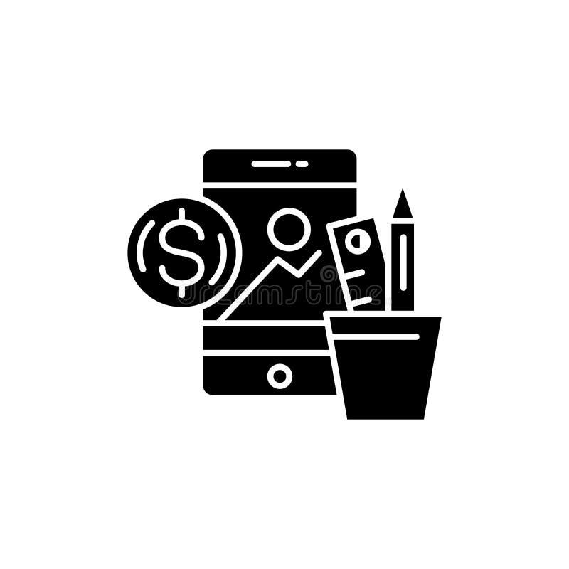 Creative business black icon concept. Creative business flat vector symbol, sign, illustration. vector illustration