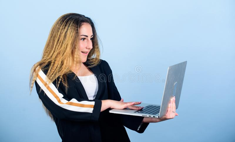 Creative business. blogging and digital marketing. new technology in modern life. woman work using computer. happy. Student study online. agile business. girl royalty free stock images