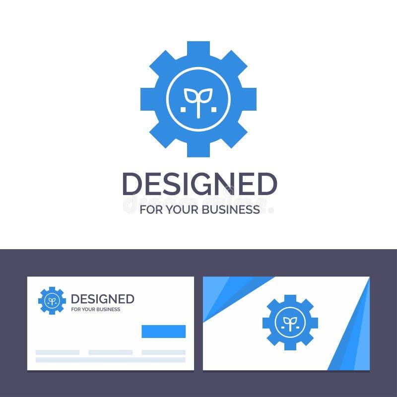 Creative Business Card и Logo template Environment, Plant, Gear, Setting Vector Illustrator иллюстрация вектора