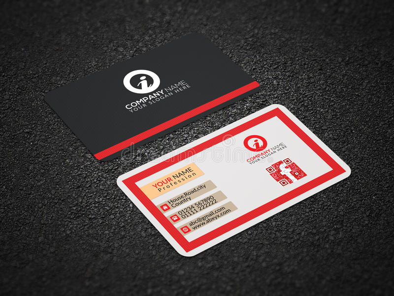 Creative Business Card Design. Red Colored Printable and Editable stock photos