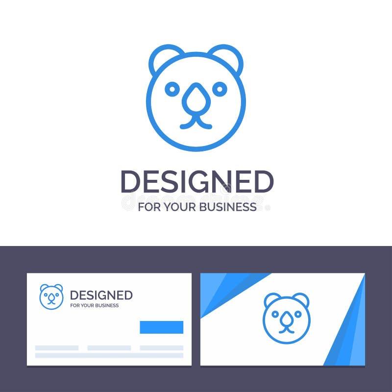 Creative Business Card e modelo de logotipo Bear, Head, Predator Vetor Illustration ilustração do vetor