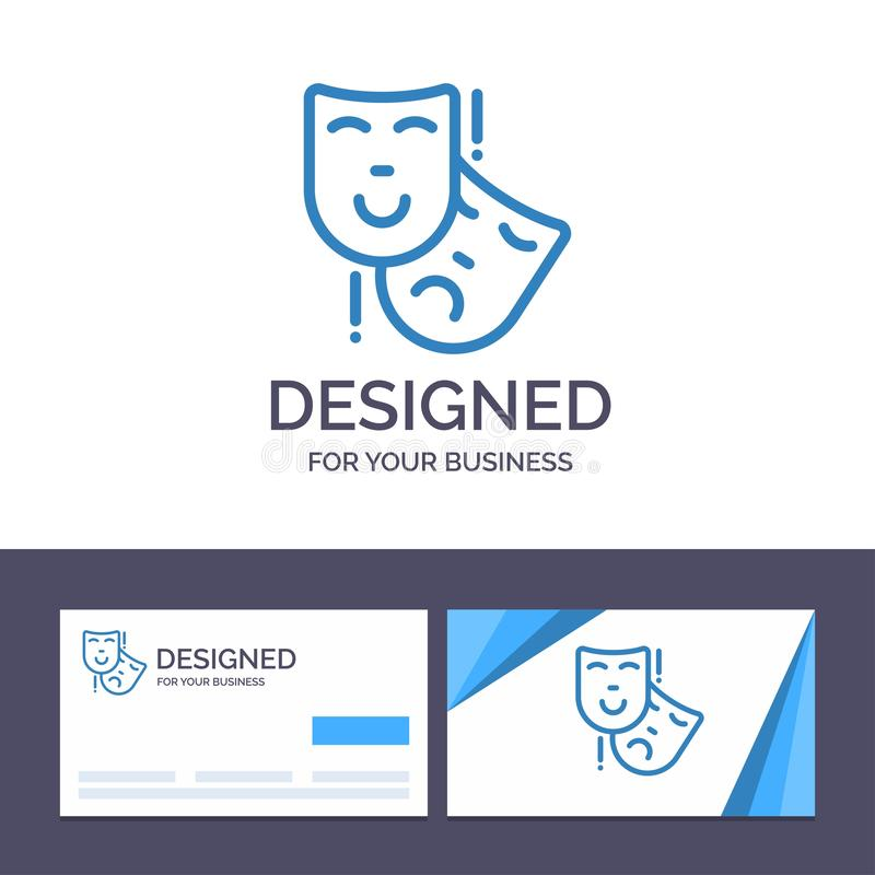 Creative Business Card and Logo template Acting, Masks, Persona, Theater Vector Illustration royalty free illustration