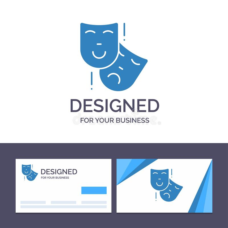 Creative Business Card and Logo template Acting, Masks, Persona, Theater Vector Illustration stock illustration