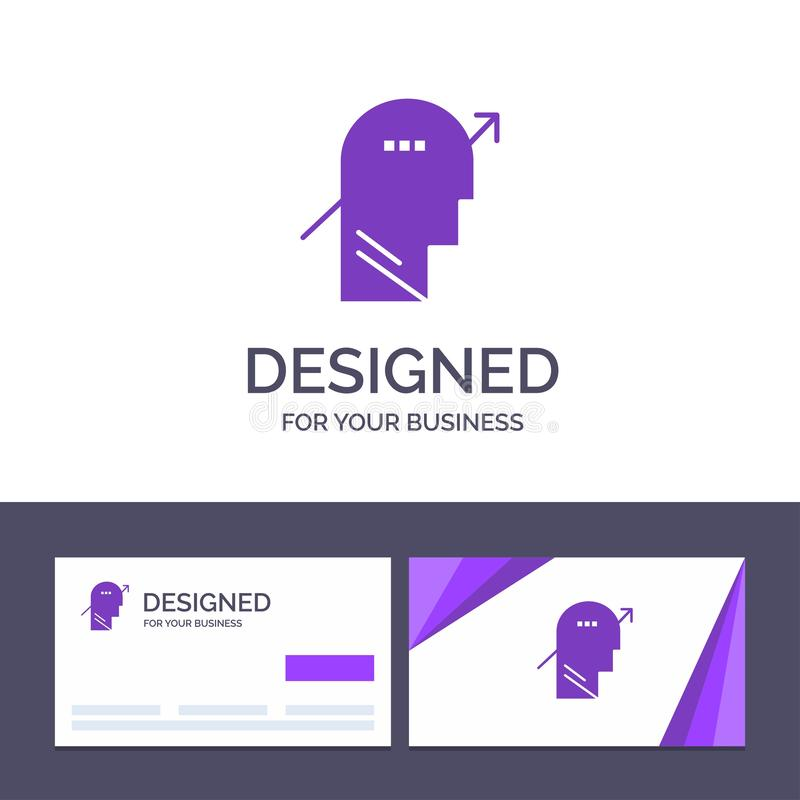Creative Business Card and Logo template Arrow, Chart, Human, Knowledge, Mind,  Vector Illustration stock illustration