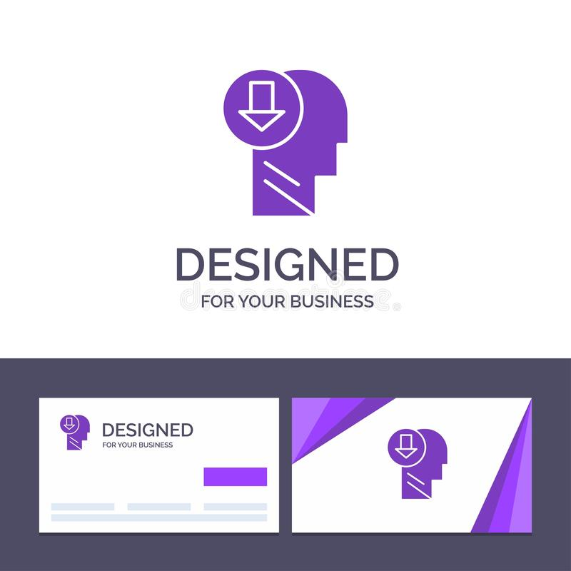 Creative Business Card and Logo template Arrow, Head, Human, Knowledge, Down Vector Illustration royalty free illustration
