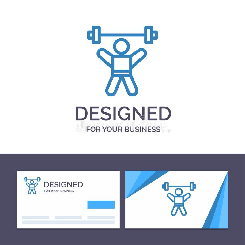 Creative Business Card and Logo template Athlete, Athletics, Avatar, Fitness, Gym Vector Illustration royalty free illustration