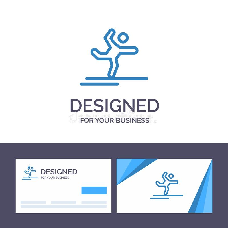 Creative Business Card and Logo template Athlete, Gymnastics, Performing, Stretching Vector Illustration vector illustration
