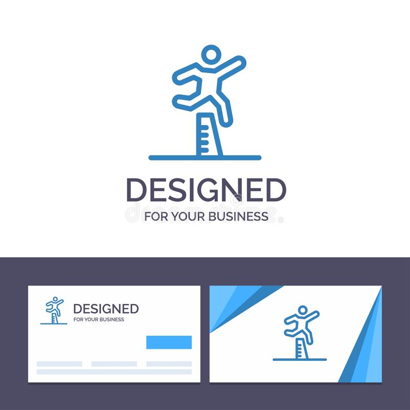 Creative Business Card and Logo template Athlete, Jumping, Runner, Running, Steeplechase Vector Illustration vector illustration