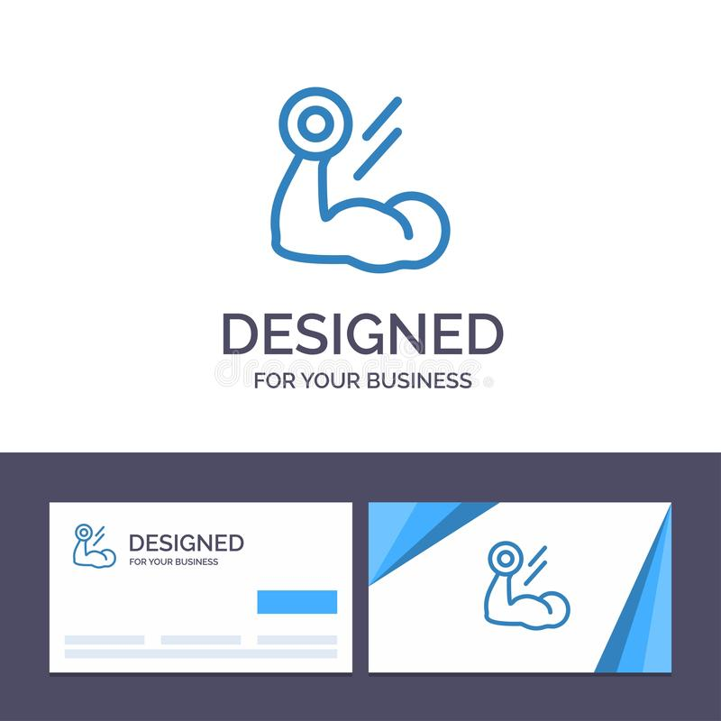 Creative Business Card and Logo template Biceps, Bodybuilding, Growth, Muscle, Workout Vector Illustration stock illustration