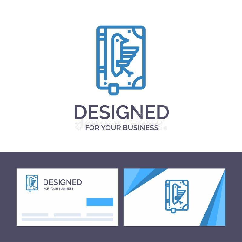 Creative Business Card and Logo template Book, Codex, Constitution, Declaration, Edict Vector Illustration stock illustration