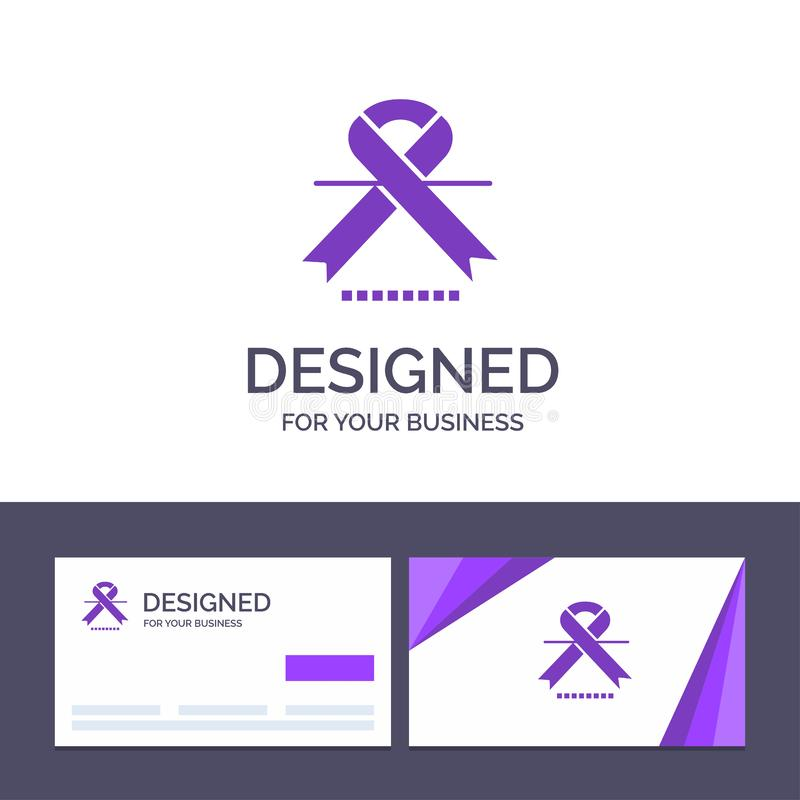 Creative Business Card and Logo template Cancer, Oncology, Ribbon, Medical Vector Illustration stock illustration