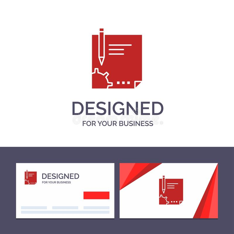 Creative Business Card and Logo template Contract, Document, File, Page, Paper, Sign, Signing Vector Illustration stock illustration