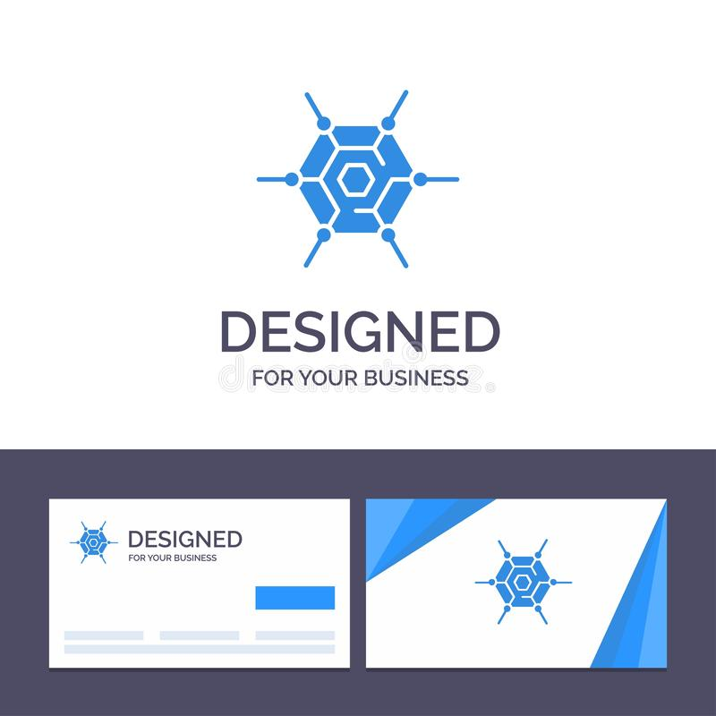 Creative Business Card and Logo template Decentralized, Network, Technology Vector Illustration royalty free illustration
