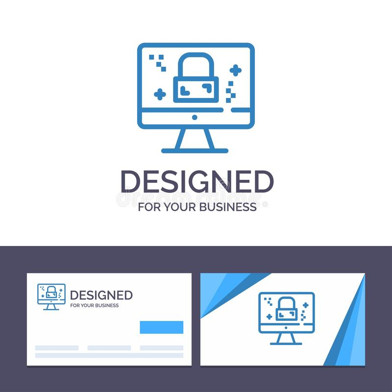 Creative Business Card and Logo template Dmca Protection, Monitor, Screen, Lock Vector Illustration stock illustration