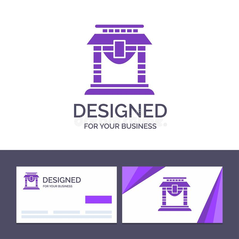 Creative Business Card and Logo template Door, Bridge, China, Chinese Vector Illustration vector illustration
