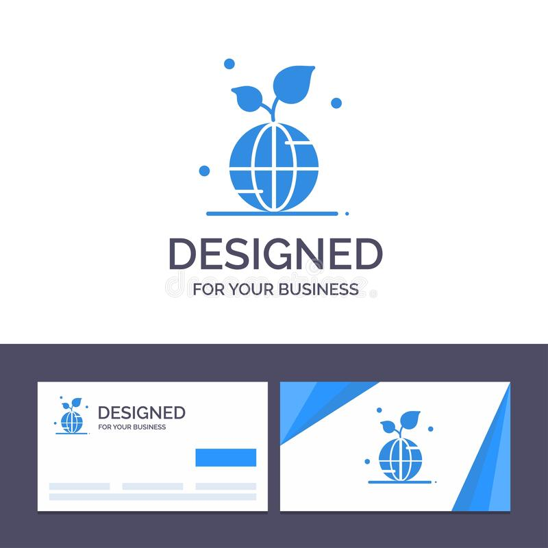 Creative Business Card and Logo template Earth, Green, Planet, Save, World Vector Illustration stock illustration