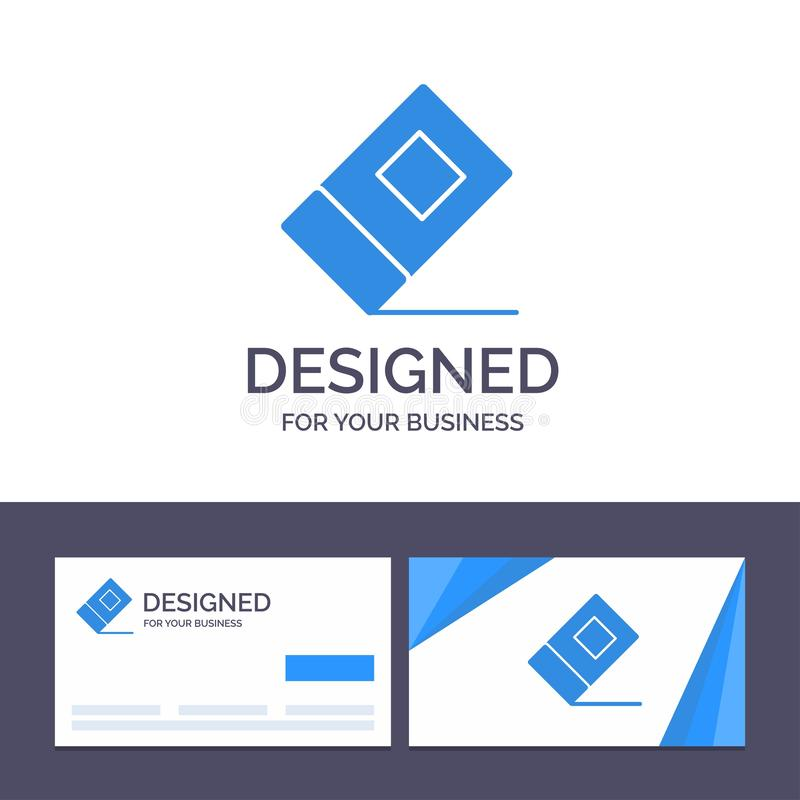 Creative Business Card and Logo template Education, Eraser, Stationary Vector Illustration royalty free illustration