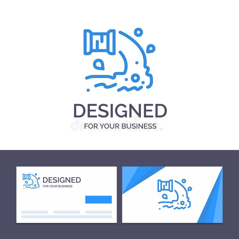 Creative Business Card and Logo template Factory, Industry, Sewage, Waste, Water Vector Illustration stock illustration