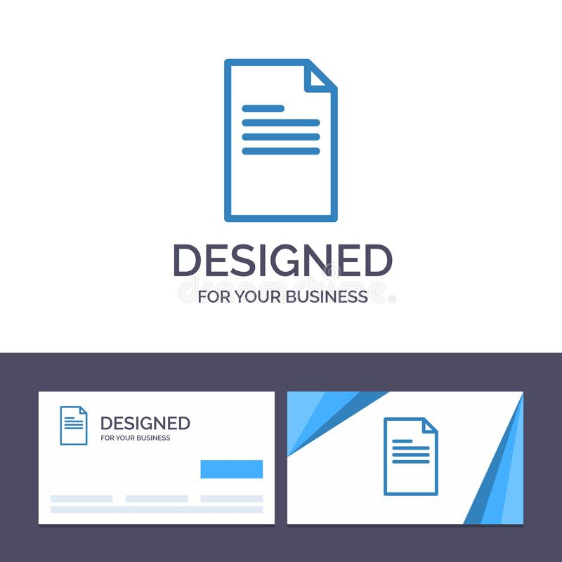 Creative Business Card and Logo template File, Text, Data, Report Vector Illustration stock illustration
