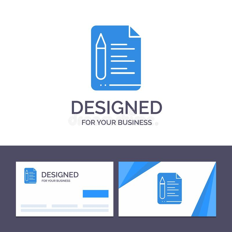 Creative Business Card and Logo template File, Text, Education, Pencil Vector Illustration vector illustration