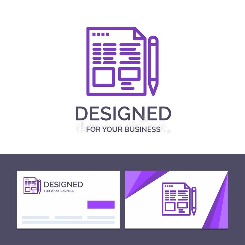 Creative Business Card and Logo template File, Text, Pencil, Education Vector Illustration stock illustration