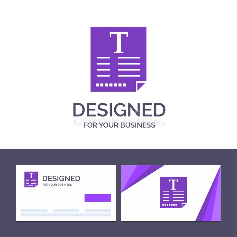 Creative Business Card and Logo template File, Text, Poster, Fount Vector Illustration royalty free illustration