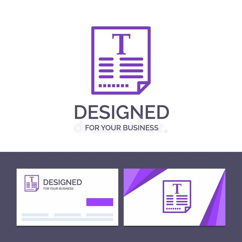 Creative Business Card and Logo template File, Text, Poster, Fount Vector Illustration vector illustration