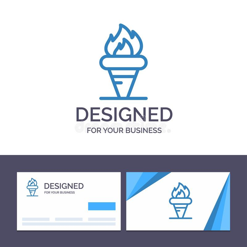 Creative Business Card and Logo template Flame, Games, Greece, Holding, Olympic Vector Illustration royalty free illustration