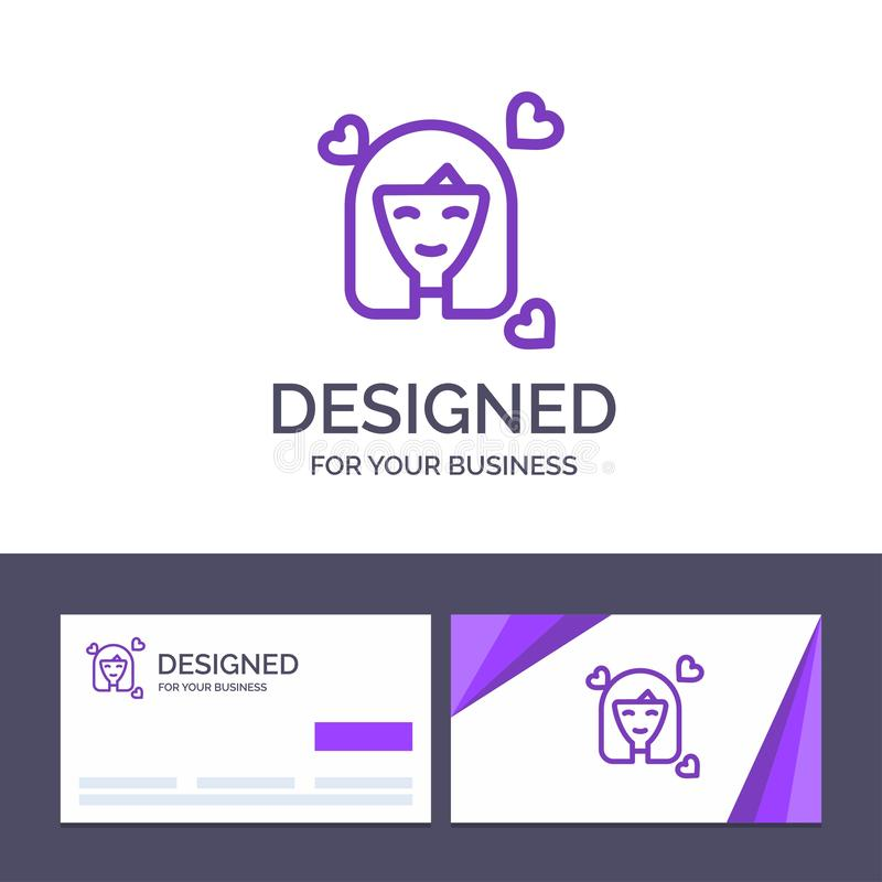 Creative Business Card and Logo template Girl, Person, Woman, Avatar, Women Vector Illustration stock illustration