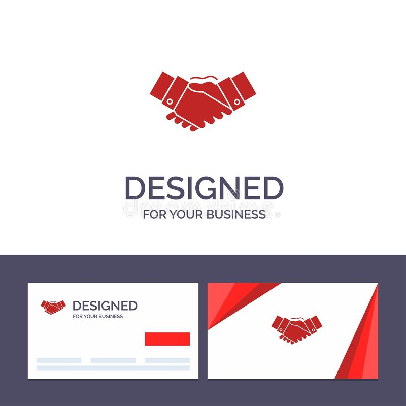 Creative Business Card and Logo template Handshake, Agreement, Business, Hands, Partners, Partnership Vector Illustration vector illustration