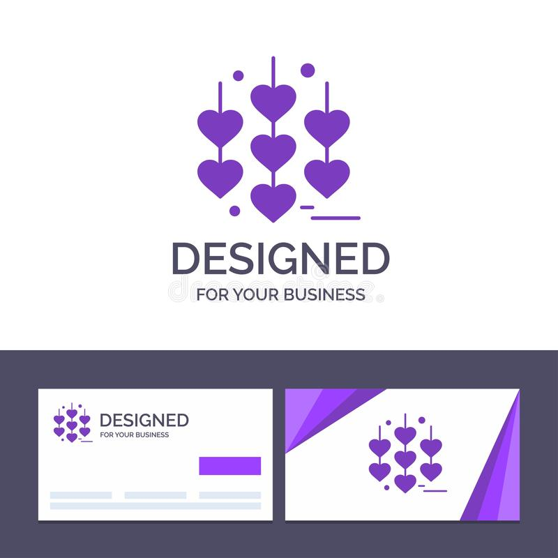 Creative Business Card and Logo template Heart, Love, Chain Vector Illustration stock illustration