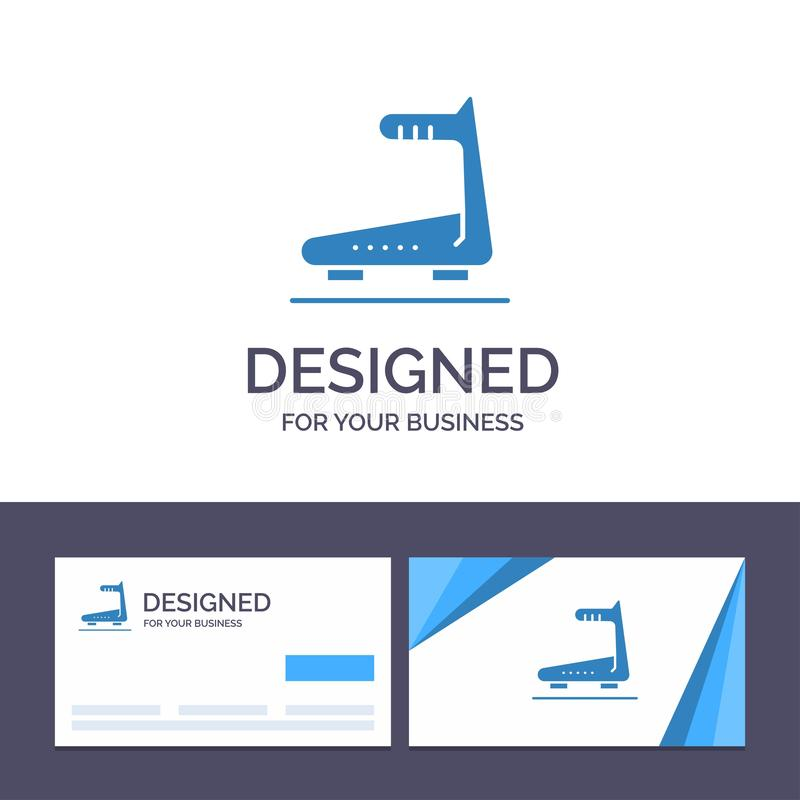 Creative Business Card and Logo template Machine, Running, Track, Treadmill Vector Illustration royalty free illustration