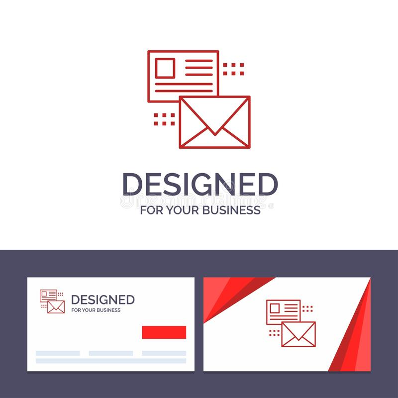 Creative Business Card and Logo template Mailing, Conversation, Emails, List, Mail Vector Illustration royalty free illustration