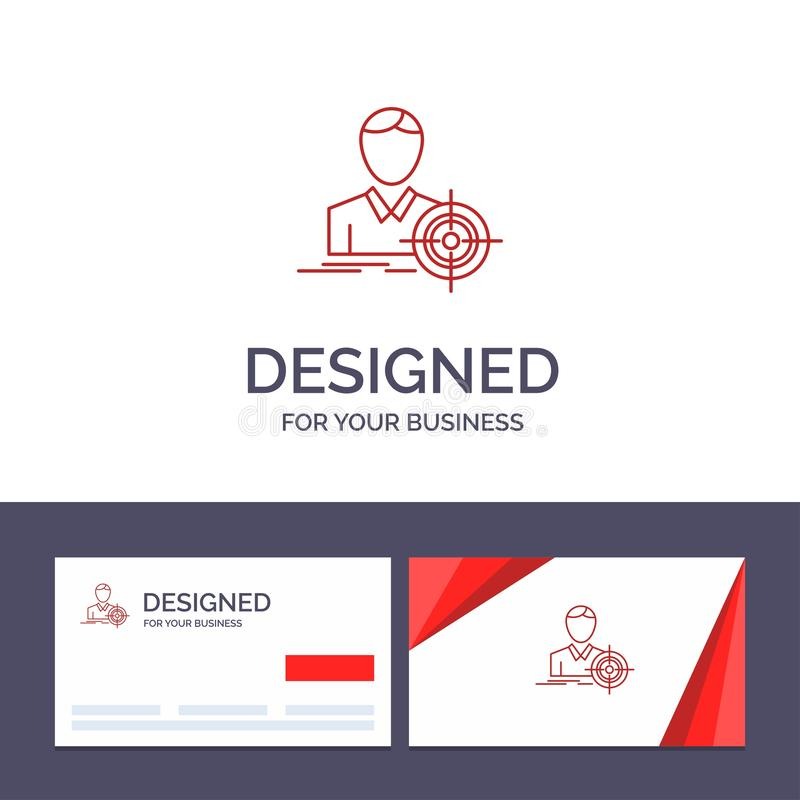 Creative Business Card and Logo template Man, Focus, Target, Goal Vector Illustration stock illustration