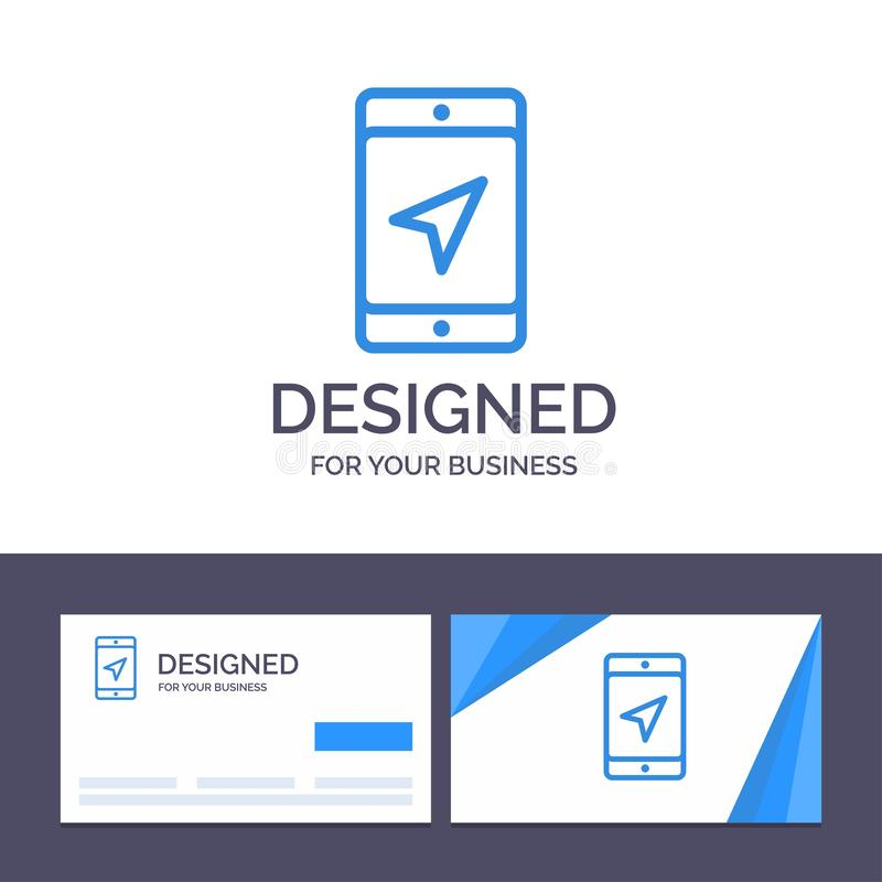 Creative Business Card and Logo template Mobile, Location, Map, Service Vector Illustration stock illustration