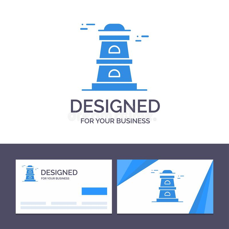 Creative Business Card and Logo template Observatory, Tower, Watchtower Vector Illustration royalty free illustration